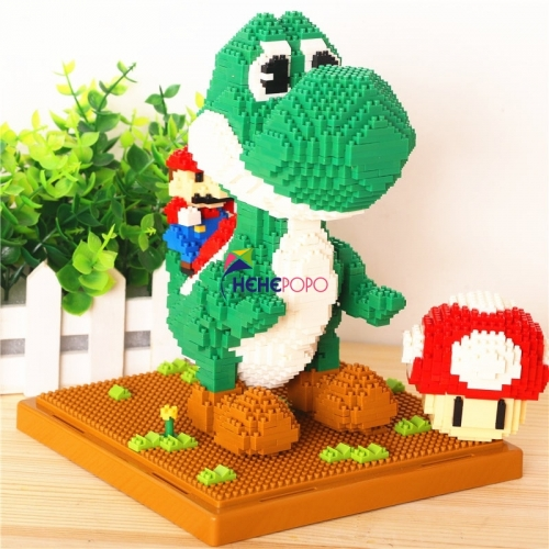 1701pcs 154 Big Size Yoshi Building Block Game Super Mario Fire Bee Mario Monster DIY Mini Building Diamond blocks