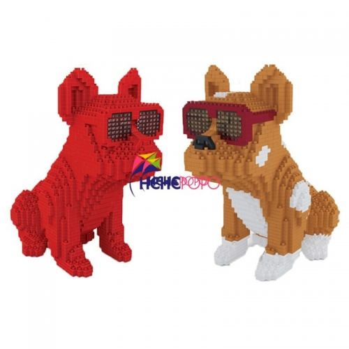 1600pcs+ Fashion Bull Dog Building Block 7057 7058 Eyeglasses Animal Pet DIY 3D Model Mini Small Blocks Diamond Building Toys