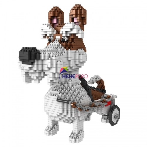 1800pcs 686-03 Dog Family Building Block Corgi Schnauzer Dog Animal Pets DIY Mini Building Diamond blocks Toy No Box